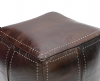 Moroccan Square Pouffe Pouf Ottoman Footstool in Real Dark Brown Tan Leather 50x50x40 cm 20x20x16 in